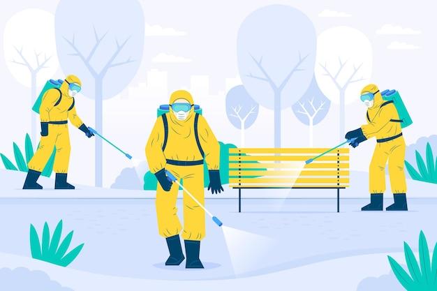 Les travailleurs fournissant un service de nettoyage dans les espaces publics illustrés