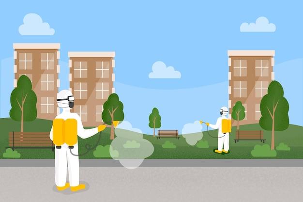 Travailleurs fournissant des services de nettoyage dans les espaces publics