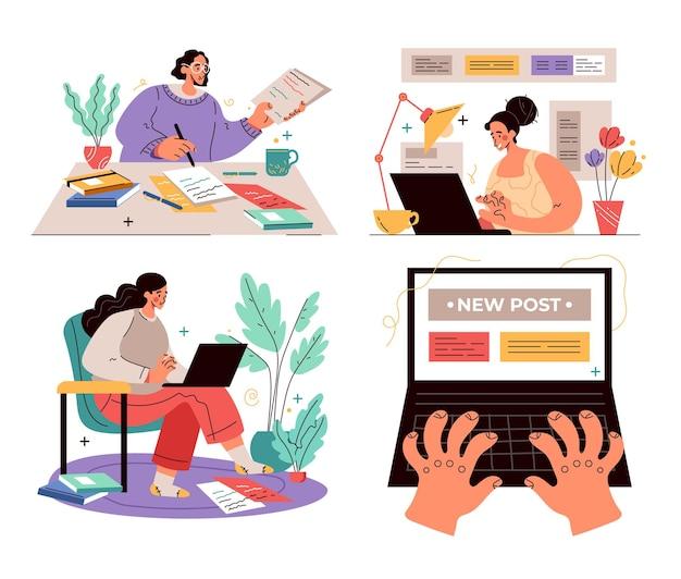 Travailleurs gens personnages journaliste rédacteur concept de travail gestionnaire de contenu