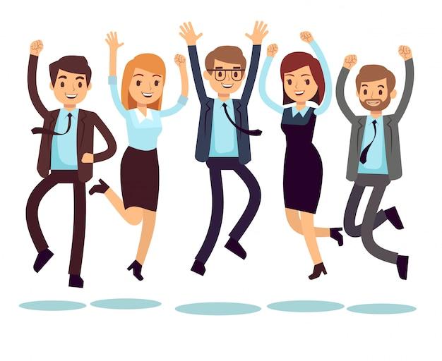 Travailleurs heureux et souriants, hommes d'affaires sautant des personnages de vecteur plat
