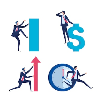 Travailleurs d'hommes d'affaires élégants avec flèche et symbole dollar vector illustration design