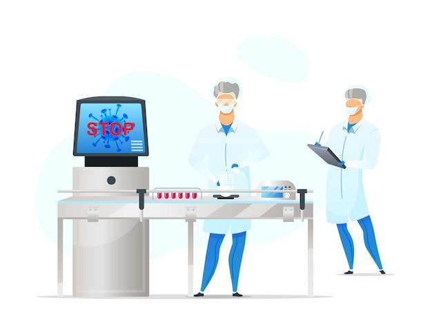 Travailleurs de laboratoire, caractères plats sans visage