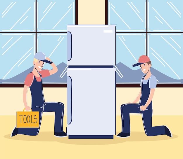 Travailleurs mâles avec réfrigérateur