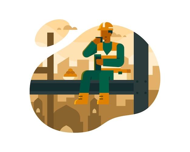 Les travailleurs mangent au-dessus des bâtiments de construction illustration
