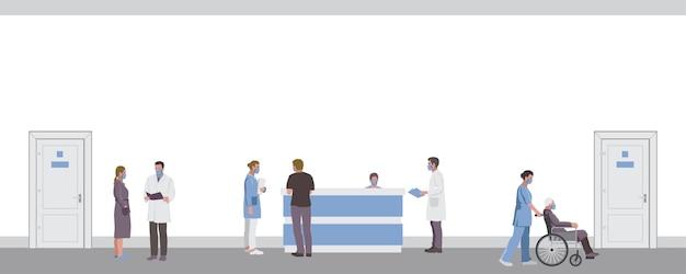 Travailleurs médicaux, médecins et patients dans le couloir de l'hôpital avec des masques faciaux