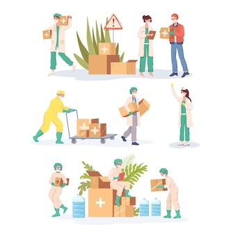 Travailleurs médicaux en uniforme et vêtements de protection transportant une illustration de dessin animé de l'aide humanitaire.