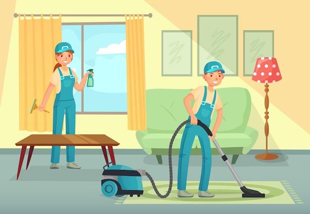 Travailleurs de nettoyage professionnels nettoyant le salon. personnages homme et femme, personnel de l'entreprise de nettoyage passant l'aspirateur sur les tapis, lavant les vitres. les gens en uniforme avec des outils vector illustration