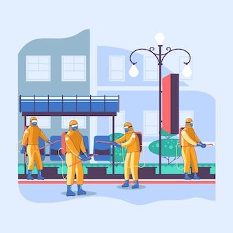 Travailleurs nettoyant les espaces publics