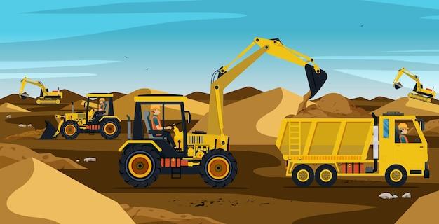 Les travailleurs qui conduisent l'excavatrice travaillent sur un tas de terre et de sable