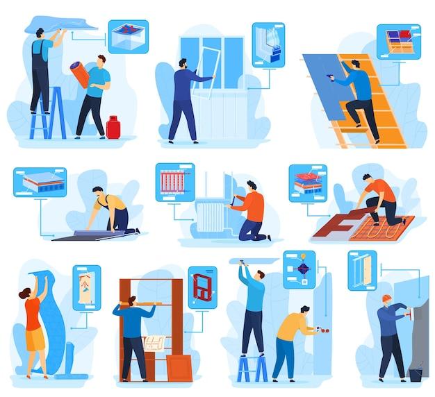 Les travailleurs réparent le jeu d'illustration vectorielle équipe. personnages de constructeur plat homme femme dessin animé travaillant dans les services de rénovation de bâtiments, réparation de maison ou appartement à la maison