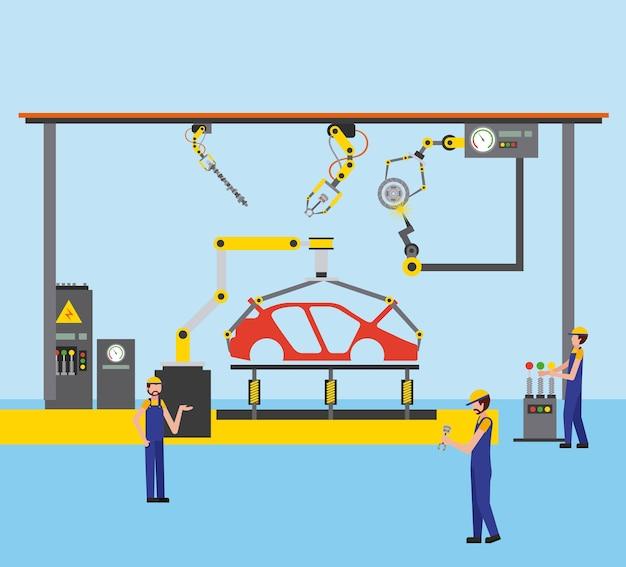 Travailleurs robot bras et chaîne de montage industrie automobile