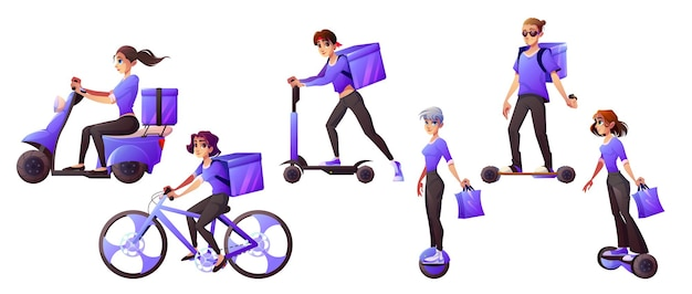 Travailleurs de service de livraison montant le transport électrique