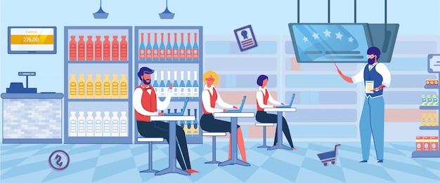 Travailleurs de supermarché d'apprentissage, concept de franchisage.