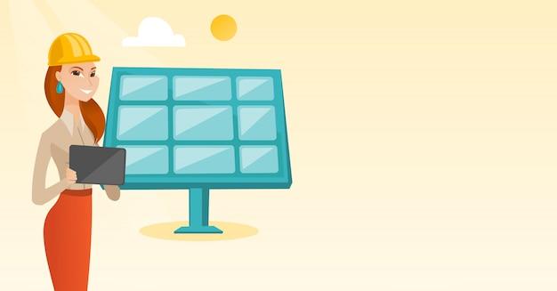 Travailleuse de la centrale solaire.