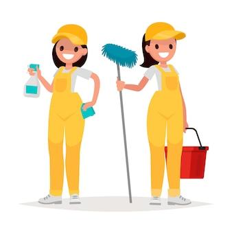 Les travailleuses de l'entreprise de nettoyage sur fond blanc. illustration vectorielle dans un style plat