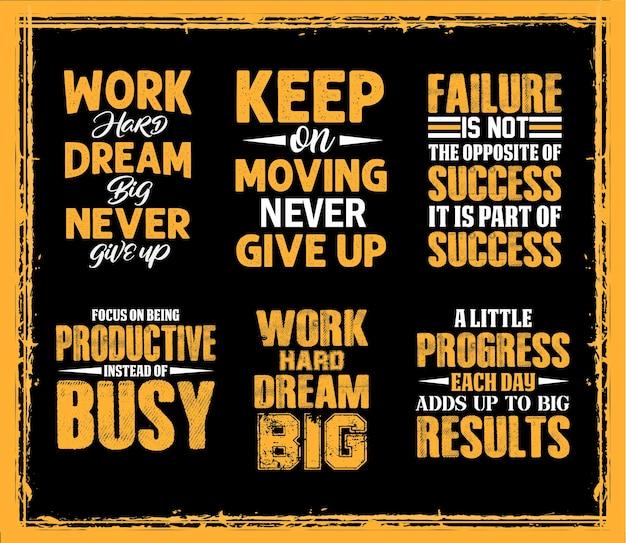 Travaillez dur, rêvez grand, conception de citations de lettres colorées de motivation pour un t-shirt mauvais ou une tasse