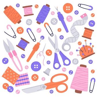 Travaux d'aiguille couture outils dessinés à la main vector illustration icons set