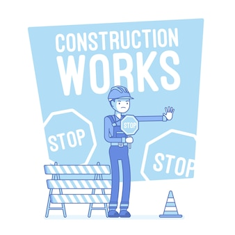 Travaux de construction arrêt illustration