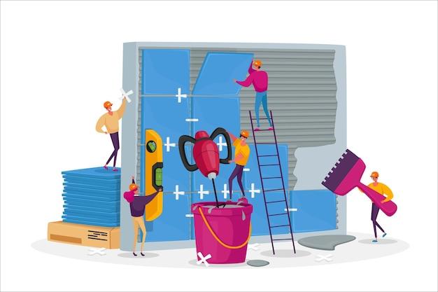 Travaux de construction et de rénovation domiciliaire, petits travailleurs personnages masculins féminins pose d'énormes céramiques sur le mur
