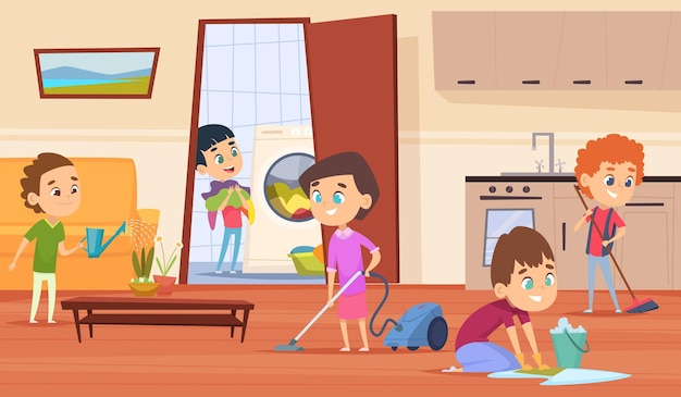 Travaux ménagers avec les parents.