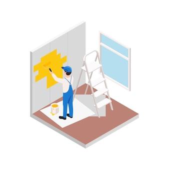 Travaux de réparation de rénovation composition isométrique avec caractère de mur de peinture de réparateur en jaune