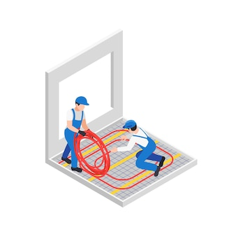 Travaux de réparation de rénovation composition isométrique avec deux ouvriers dévidant un tube en caoutchouc