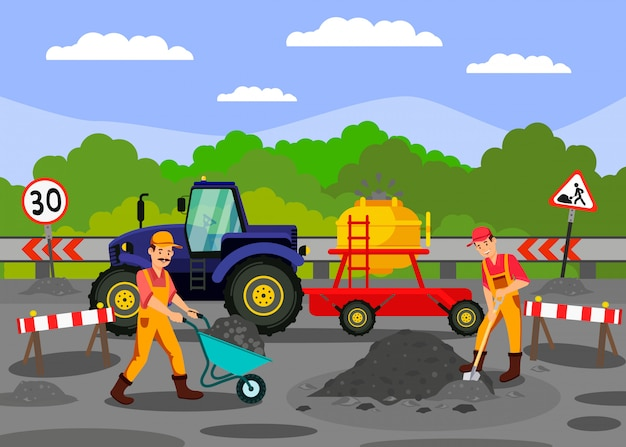 Travaux de réparation de routes sur l'illustration vectorielle autoroute