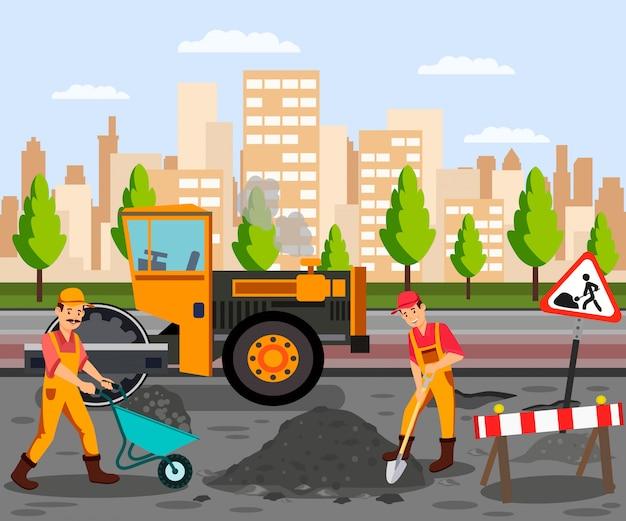 Travaux routiers, asphalte, pavage, illustration couleur plat