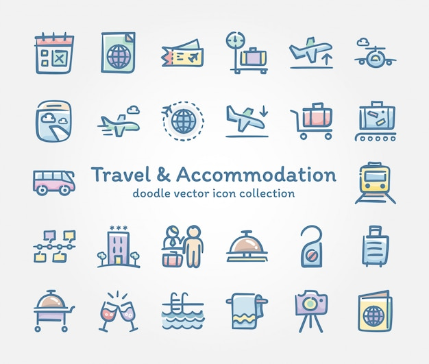 Travel & accommodation doodle collection d'icônes vectorielles