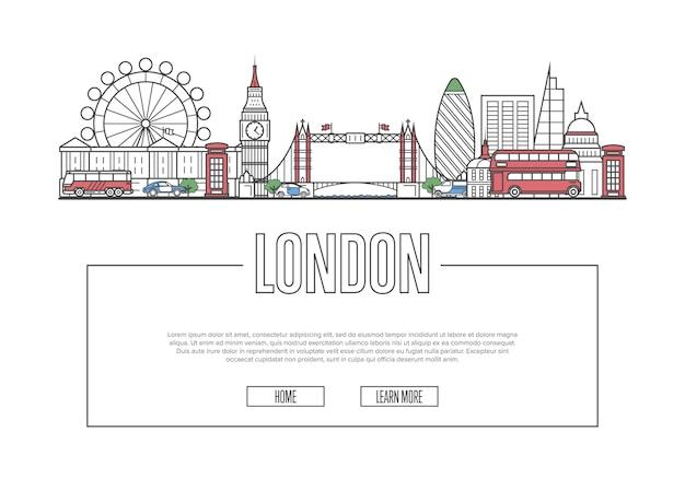 Travel london site dans un style linéaire