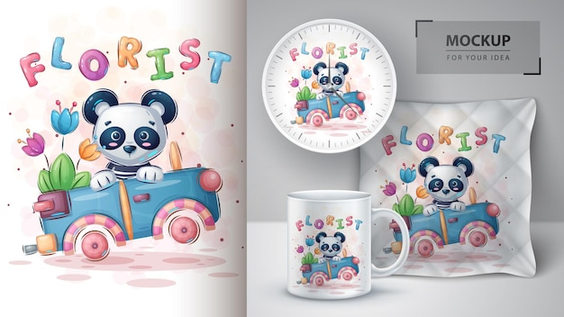 Travel panda - affiche et merchandising