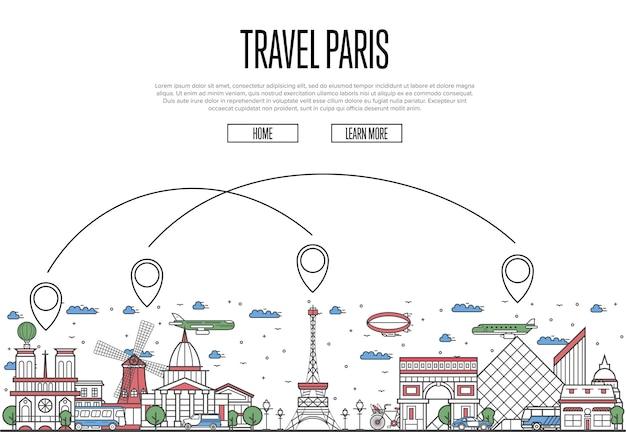 Travel paris site dans un style linéaire