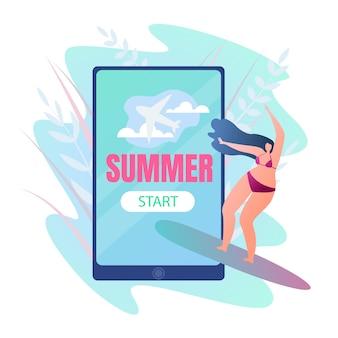 Travel postcard est written summer start, cartoon.