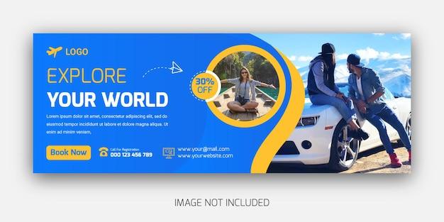 Travel tour destination agency facebook cover timeline template design