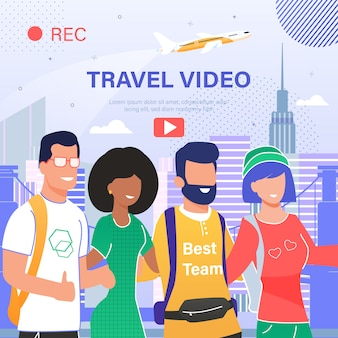 Travel video blog flat banner
