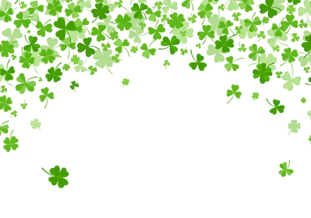 Trèfle ou feuilles de trèfle design plat toile de fond vert modèle vector illustration