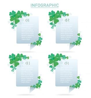 Trèfle vert feuille info graphique vecteur