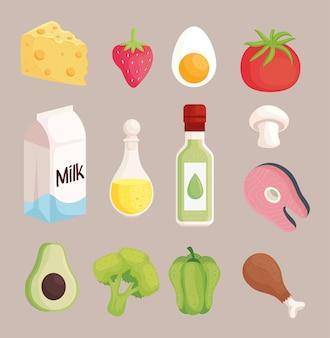 Treize icônes de jeu d'aliments sains