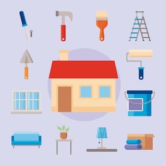 Treize icônes de jeu de rénovation domiciliaire