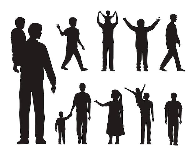 Treize silhouettes de pères et enfants