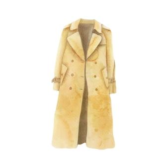Trench coat illustration aquarelle vêtements par temps froid