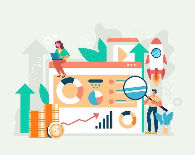 Trendwatching internet en ligne nouveau concept de démarrage d'entreprise. illustration de dessin animé plat