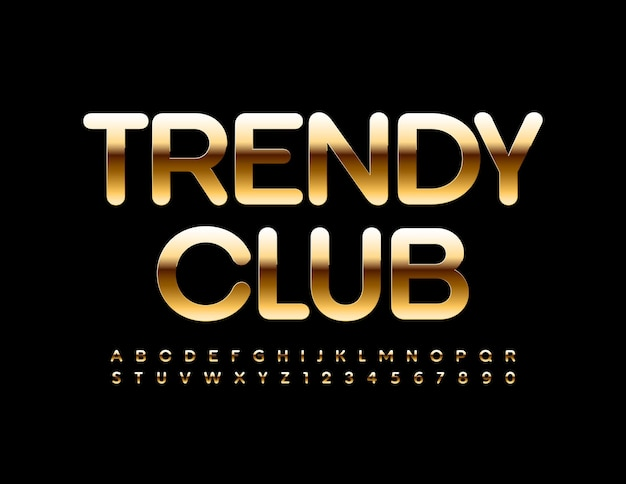 Trendy club glossy golden font premium style alphabet letters and numbers set