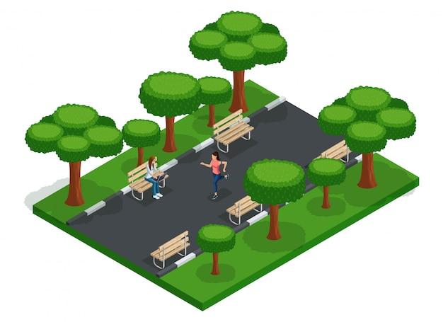 Trendy people isometric vector adolescents, jeunes, étudiants, pigistes, course à pied, bancs de parc de la ville, travail en plein air