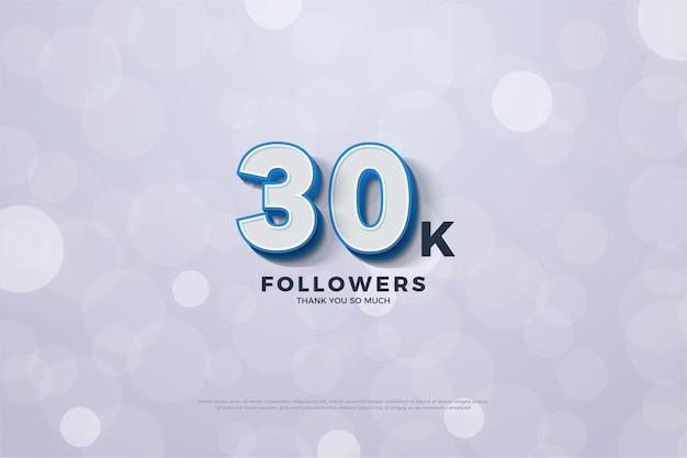 Trente mille abonnés avec un numéro rayé bleu