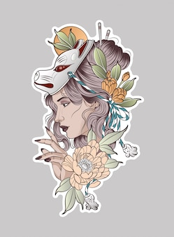 Très belle femme dans un masque de renard roux