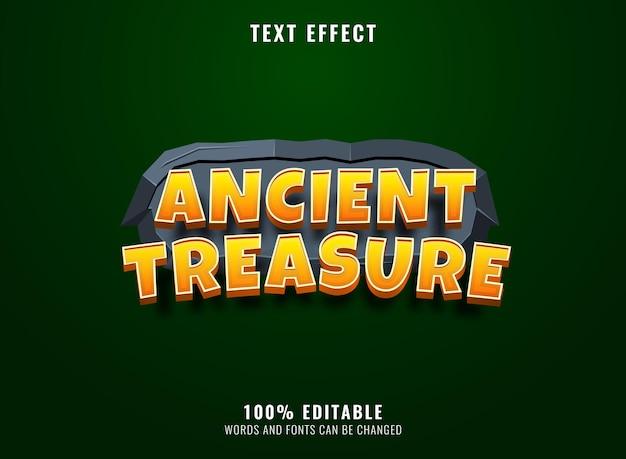 Trésor antique 3d avec effet de texte de titre de logo de jeu de cadre en pierre