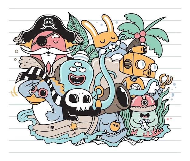 Trésor dans l'océan doodle