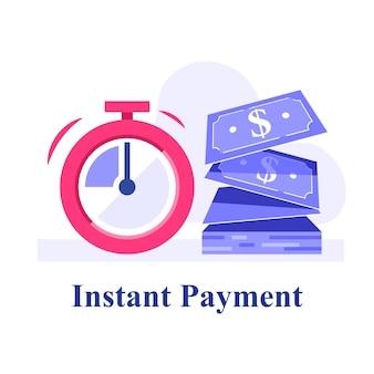Trésorerie rapide, petits prêts, emprunter de l'argent, solution financière, micro-prêt, provision financière, subvention commerciale, illustration plate