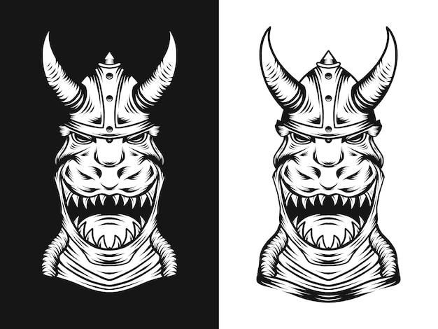 Trex de dinosaure avec illustration de chapeau viking dans un style dessiné à la main